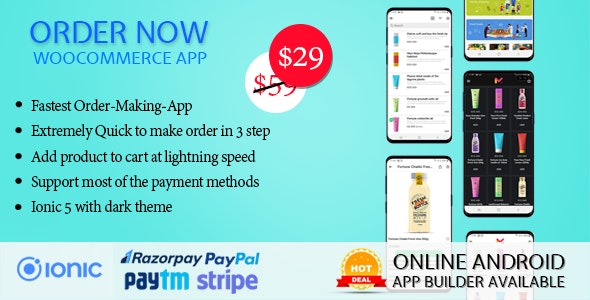 Order Now Mobile app for WooCommerce ionic 5 - CodeCanyon Item for Sale