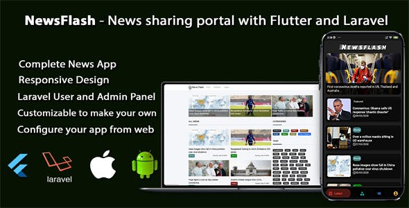 NewsFlash - News sharing portal with Flutter and Laravel