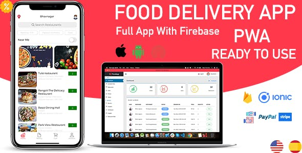 ionic 5 food delivery full (Android + iOS + Admin Panel PWA) app with firebase