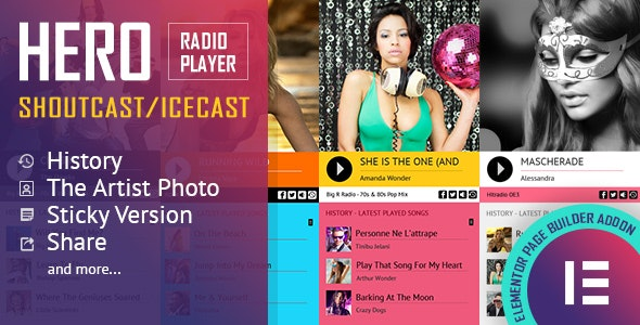 Hero - Shoutcast and Icecast Radio Player With History - Elementor Widget Addon - CodeCanyon Item for Sale