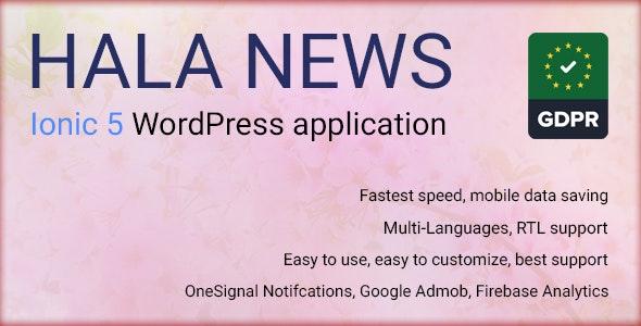 Full Ionic 5 Mobile App for WordPress - Admob, Native Ads, Social Login - Hala News Pro - CodeCanyon Item for Sale