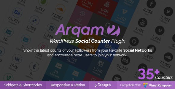 Social Counter Plugin for WordPress - Arqam