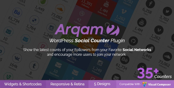 Social Counter Plugin for WordPress - Arqam - CodeCanyon Item for Sale