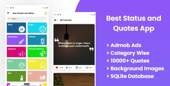 Best Status and Quotes app with Quotes maker , Facebook ads and Admob Ads
