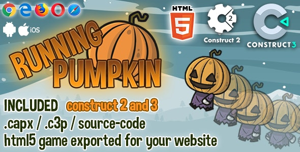 Running Pumpkin HTML5 Game - Construct2 & 3 Source-code - CodeCanyon Item for Sale