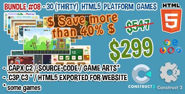 Game Bundle #08 – 30 (Thirty) HTML5 Games (Construct 2 and 3 source-code)