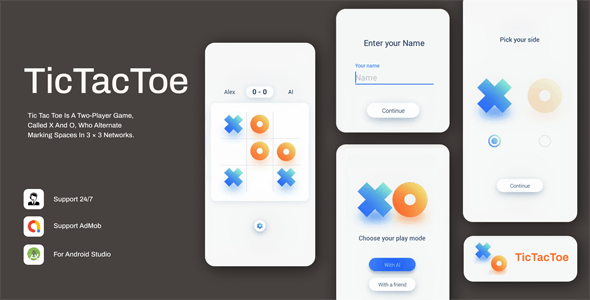 Tic Tac Toe: Simple & Minimal Game - CodeCanyon Item for Sale
