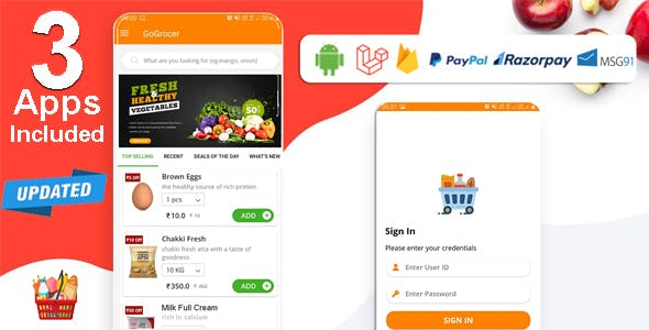 Multi-Store Grocery Delivery App with PHP Backend and Store & Delivery Boy App
