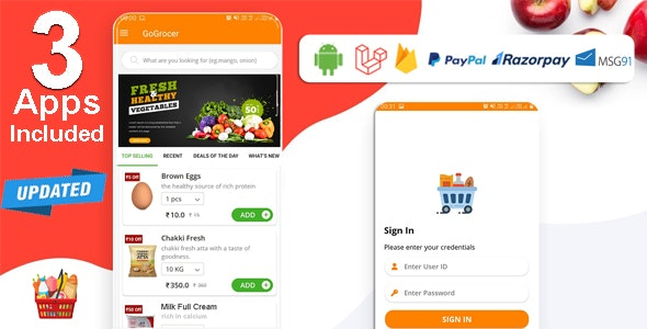 Multi-Store Grocery Delivery App with PHP Backend and Store & Delivery Boy App - CodeCanyon Item for Sale