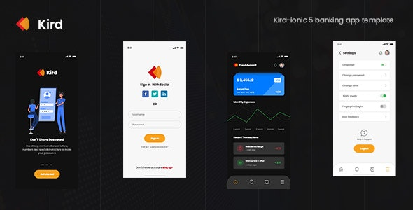Kird - ionic 5 banking app theme - CodeCanyon Item for Sale