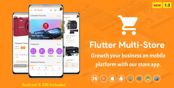 Flutter Multi-Store ( Ecommerce Mobile App for iOS & Android with same backend ) 1.3