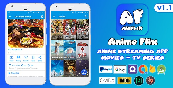 AniFlix Anime Streaming v1.1 - Movies, TV Series + Ads + Admin Panel + In-App Purchases - CodeCanyon Item for Sale