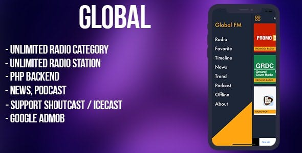 Global - radio, news, podcast + backend (iOS)