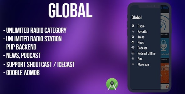 Global - radio, news, podcast + backend (android) - CodeCanyon Item for Sale