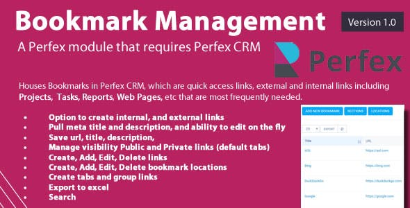 Bookmark links module for Perfex CRM