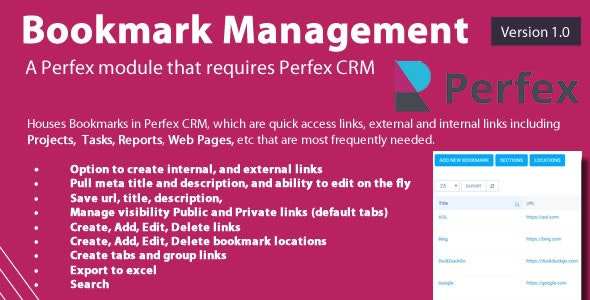 Bookmark links module for Perfex CRM - CodeCanyon Item for Sale
