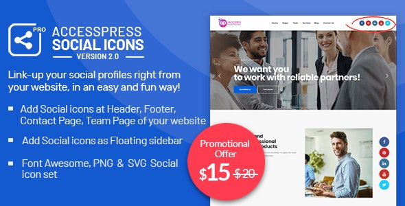 AccessPress Social Icons Pro - CodeCanyon Item for Sale