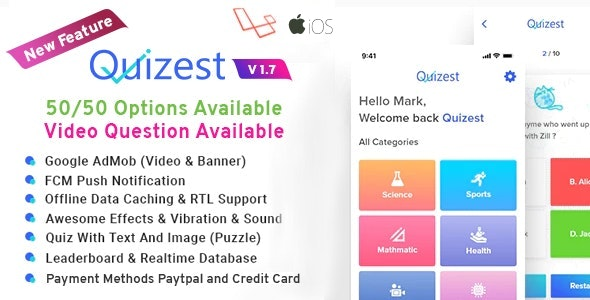 Quizest - Complete Quiz Solutions With iOS App with Laravel Admin Panel - CodeCanyon Item for Sale