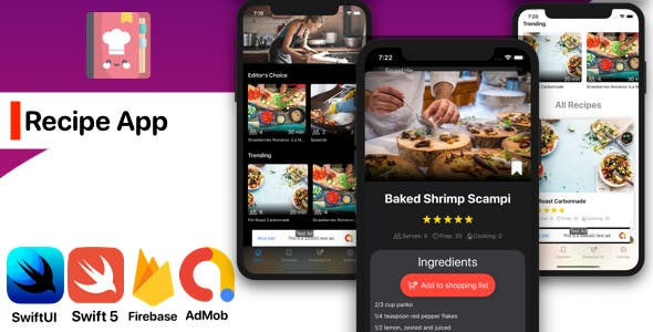 iOS SwiftUI Recipe App Food Book (Cooking, Chef)
