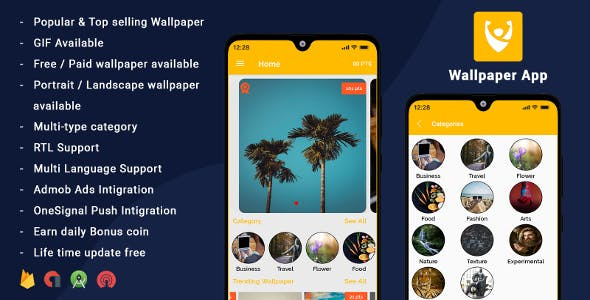 Android Wallpapers App (HD, Full HD, 4K, Ultra HD Wallpapers) & Photo Editor tool - Reward Points