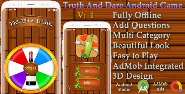 Truth or Dare Android Game in 3D - Spin the Bottle - Mobile OTP Login - AdMob - CodeCanyon Item for Sale