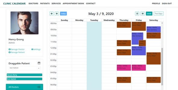 Clinic Calendar & Clinic Website & Admin Management & Draggable Patient With Fullcalendar
