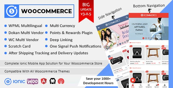 Ionic5 Woocommerce - Ionic5/Angular8 Universal Full Mobile App for iOS & Android / Wordpress Plugins