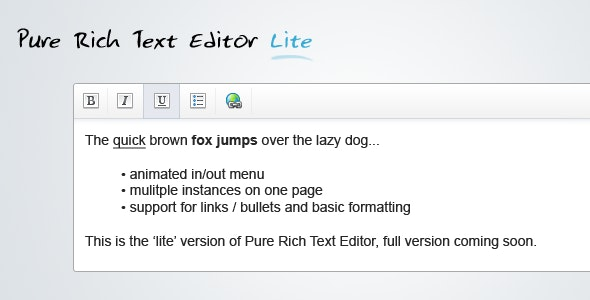 Pure Rich Text Editor Lite - CodeCanyon Item for Sale