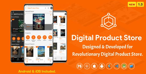 Digital Download Products Store For eBook, Video, Photo (Using Flutter For iOS and Android) 1.3