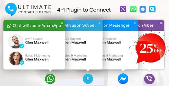 Ultimate Contact Buttons - Connect To Viber, WhatsApp, Messenger & Skype Via WordPress