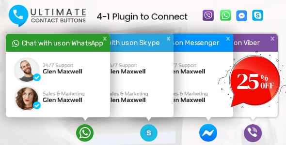 Ultimate Contact Buttons - Connect To Viber, WhatsApp, Messenger & Skype Via WordPress - CodeCanyon Item for Sale
