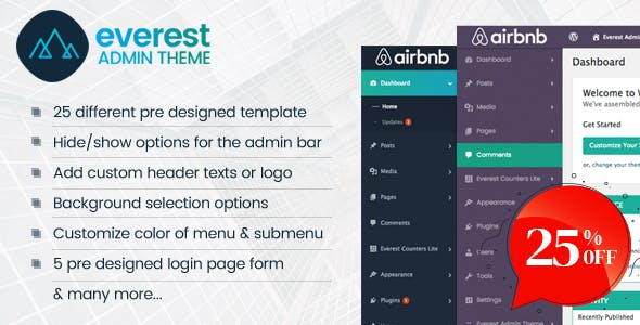 Everest Admin Theme - WordPress Backend customizer