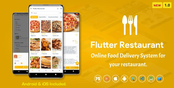 Flutter Restaurant ( Online Food Delivery System For iOS and Android ) 1.0
