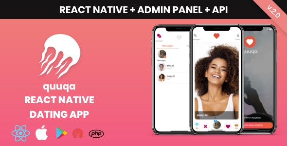 quuqa: React Native Dating App - CodeCanyon Item for Sale