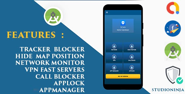 AntiTracker + VPN + HideMap + CallBlocker + AppManager + Network Monitor