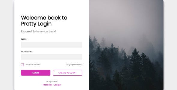 Pretty Login - Responsive HTML/CSS/JS Login form (PLUS: React.js component included)