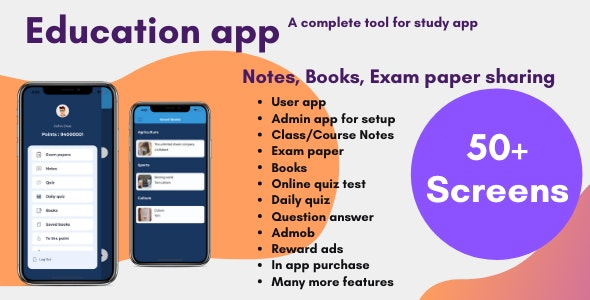 Education app with quiz + notes + exam paper sharing (Android and iOS) - CodeCanyon Item for Sale