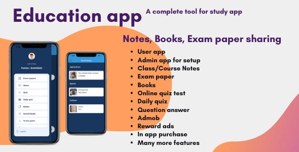 Education app with quiz + notes + exam paper sharing (Android and iOS)