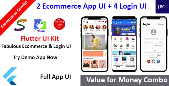 Flutter Ecommerce App UI - 2 Ecommerce App UI + 4 Login & Signup Screen UI