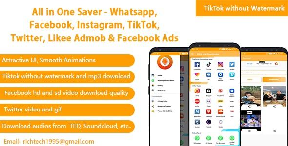 All in One Saver - Whatsapp, Facebook, Instagram, TikTok, Twitter Likee Admob,Onesignal (Version 3)