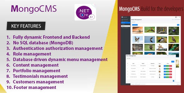 MongoCMS  - Content Management System using ASP.NET CORE 3.1 and MongoDB