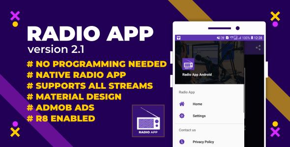 Radio App | Native Android Radio App with AdMob & Facebook Ads
