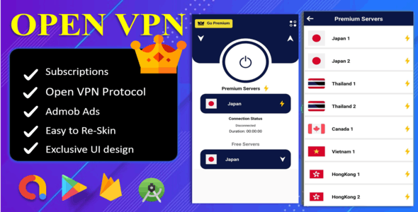 Open VPN App  With OVPN Protocol | Subscription Plan | Secure VPN Servers | Admob Ads