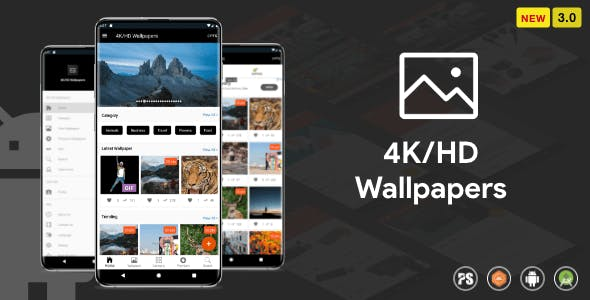 4K/HD Wallpaper Android App ( Auto Shuffle + Gif + Live + Admob + Firebase Noti + PHP Backend) 3.0