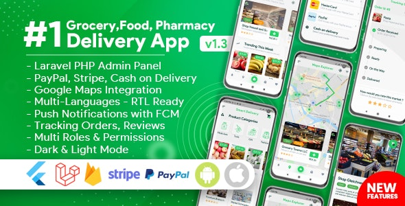 Grocery, Food, Pharmacy, Store Delivery Mobile App with Admin Panel - CodeCanyon Item for Sale