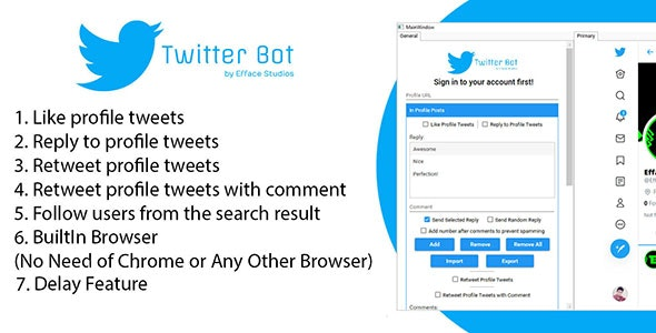 Efface Twitter Bot - CodeCanyon Item for Sale