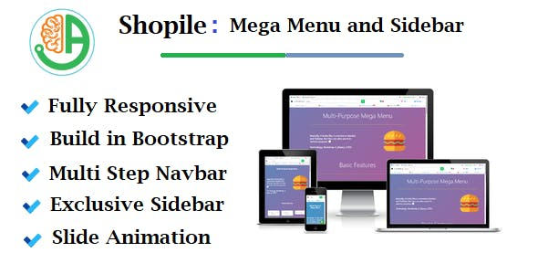 Shopile - Responsive Multi-purpose Bootstrap Mega Menu and Sidebar
