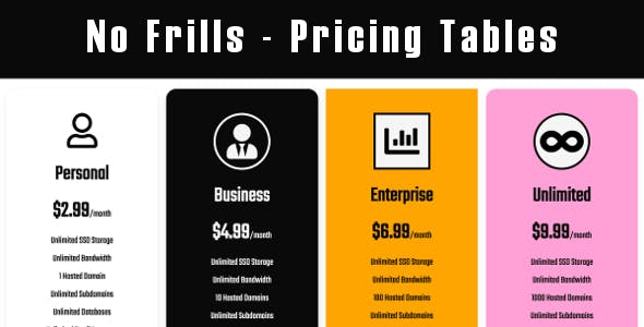 No Frills - Pricing Tables