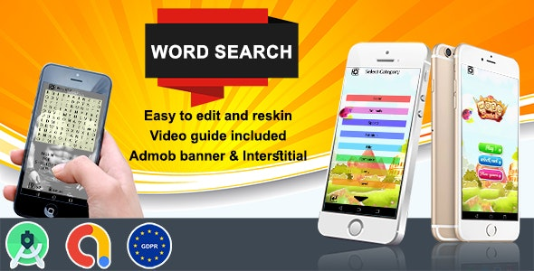Word Search  (Admob + GDPR + Android Studio) - CodeCanyon Item for Sale