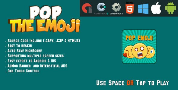 Pop the Emoji - HTML5 Game - Android & IOS + AdMob (CAPX,C3P)